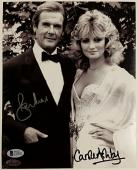 Roger Moore + Carole Ashby Signed 8x10 James Bond 007 Photo #2 Beckett BAS COA