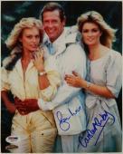 Roger Moore Carole Ashby Signed 8x10 James Bond 007 Photo Dual Auto PSA/DNA COA