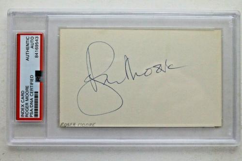 Roger Moore (d.2017) JAMES BOND actor Autographed 3x5 Signed Index Card PSA