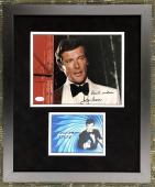 ROGER MOORE d.2017  signed James Bond 8x10 custom framed display- JSA COA