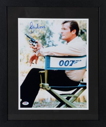 "Roger Moore Framed Autographed 11"" x 14"" James Bond Photograph - PSA/DNA"