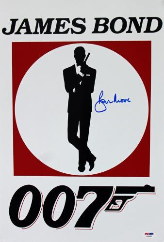 Roger Moore James Bond 007 Signed 12x18 Photo Autographed PSA/DNA