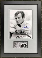 ROGER MOORE- JAMES BOND 007 signed 8x10 photo custom framed display- PSA COA