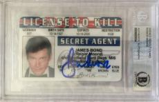 Roger Moore James Bond 007 Signed ID Card Autographed Authentic Beckett BGS