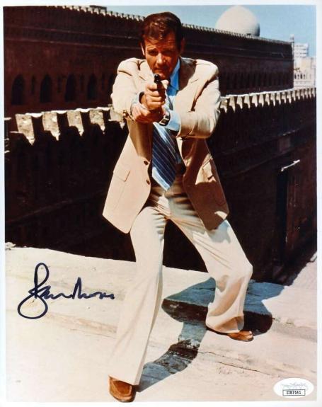 Roger Moore JSA Coa Signed 8x10 James Bond Photo Autograph