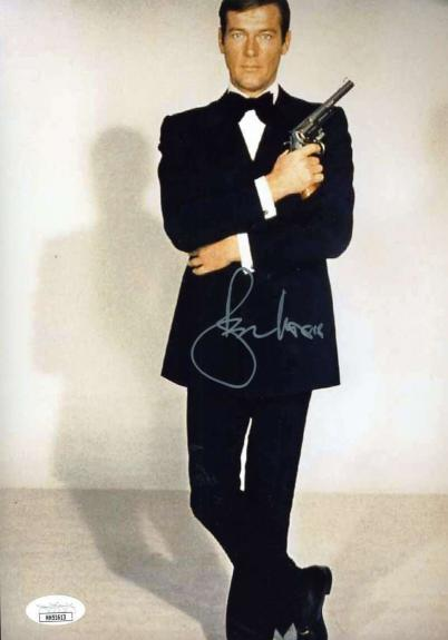 Roger Moore JSA Coa Signed 8x10 James Bond Photo Autographed