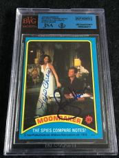 Roger Moore & Lois Chiles Signed 1979 James Bond Moonraker Card Jsa/bvs Bgs