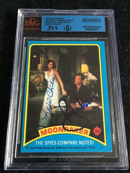 Roger Moore & Lois Chiles Signed 1979 James Bond Moonraker Card Jsa/bvs Bgs
