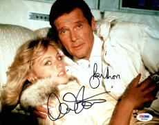 """ROGER MOORE & MARY STAVIN Signed """"A View To A Kill"""" 8x10 Photo PSA/DNA #X80868"""