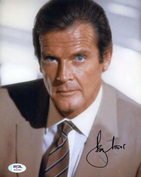 Roger Moore PSA DNA Coa Signed 8x10 James Bond Photo Autographed