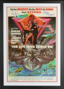 "Roger Moore & Richard Kiel Framed Autographed 37"" x 25"" The Spy Who Loved Me Movie Poster - Beckett COA"