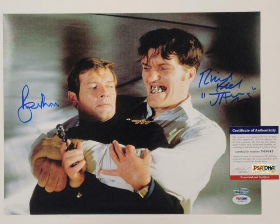 ROGER MOORE RICHARD KIEL Signed James Bond 11x14 Photo 007/007 ~ Beckett BAS COA
