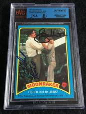 Roger Moore & Richard Kiel Signed 1979 James Bond Moonraker Card #54 Jsa/bvs Bgs