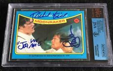 Roger Moore & Richard Kiel Signed 1979 James Bond Moonraker Card #55 Jsa/bvs Bgs