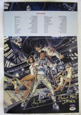 ROGER MOORE~RICHARD KIEL Signed MOONRAKER James Bond 12x18 Movie Poster PSA COA