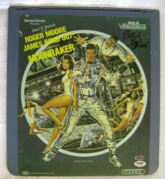 ROGER MOORE + RICHARD KIEL Signed 007 James Bond MOONRAKER Laserdisc PSA/DNA COA