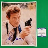 "Roger Moore Signed 11""x14"" James Bond 007 Color Photo Beckett Certified Bas Coa"