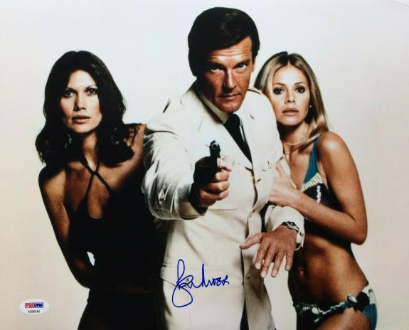 Roger Moore Signed 11x14 Photo *The Original J. Bond* PSA AB90548