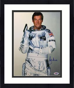 Roger Moore Signed 11x14 Photo *The Original J. Bond* PSA AB90562