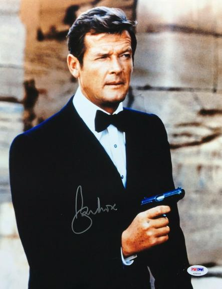 Roger Moore Signed 11x14 Photo *The Original J. Bond* PSA AB90564