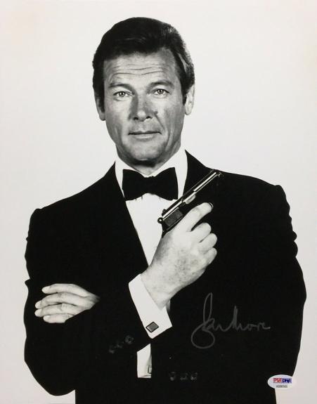 Roger Moore Signed 11x14 Photo *The Original J. Bond* PSA AB90566