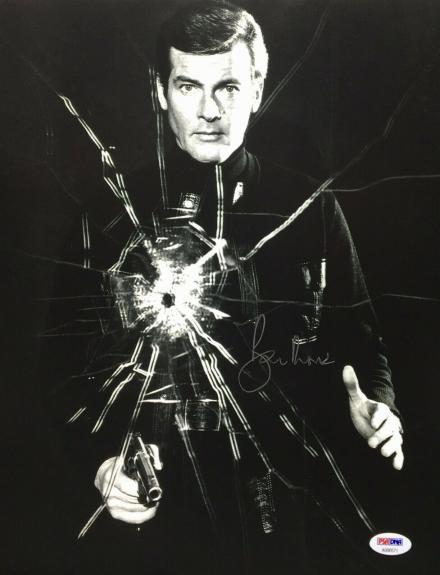 Roger Moore Signed 11x14 Photo *The Original J. Bond* PSA AB90571