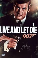 "Roger Moore Signed 11x17 James Bond Inscribed ""007"" Mini Poster Psa/dna Aa67617"