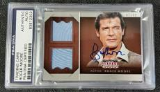 ROGER MOORE Signed 15 Panini Americana No. DM-RM Worn Materials Card 47/49 PSA