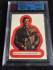 Roger Moore Signed 1979 James Bond Moonraker Card Sticker #5 Auto Jsa/bvs Bgs