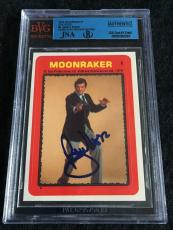 Roger Moore Signed 1979 James Bond Moonraker Card Sticker #8 Auto Jsa/bvs Bgs