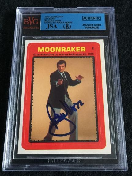 Roger Moore Signed 1979 James Bond Moonraker Card Sticker #8 Auto Jsa/bvs Bgs