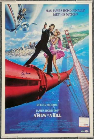 ROGER MOORE Signed 24x36 A VIEW TO A KILL Movie Poster (B) ~ Beckett BAS COA
