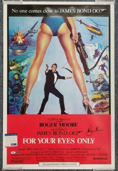 ROGER MOORE James Bond signed For Your Eyes Only 24x36 Movie Poster PSA/DNA COA