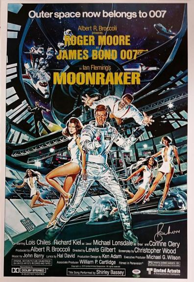 ROGER MOORE Signed 24x36 Moonraker Replica JAMES BOND Movie Poster ~ PSA/DNA COA