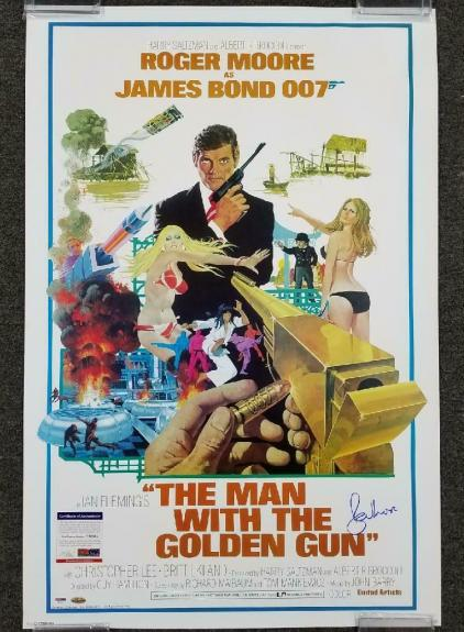 ROGER MOORE Signed 24x36 The Man With the Golden Gun Movie Poster (B) ~ PSA/DNA