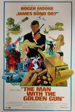 ROGER MOORE Signed 24x36 The Man with the Golden Gun Movie Poster PSA/DNA COA