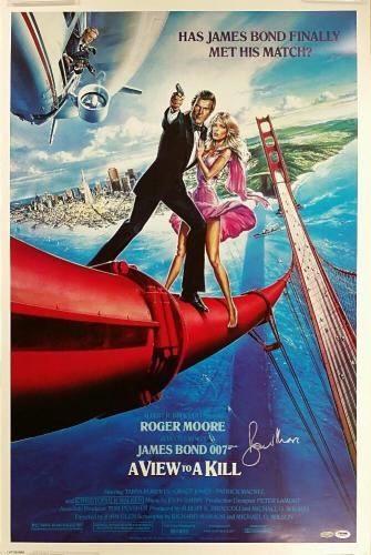 ROGER MOORE Signed 24x36 View to a Kill Movie Poster JAMES BOND 007 w/ PSA/DNA