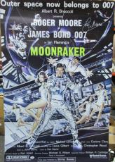Roger Moore Signed 27x40 James Bond 007 Moonranker Poster Psa/dna X48514