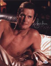 Roger Moore Signed Authentic Photo 11x14 James Bond 007 Psa W41699