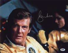 Roger Moore Signed Authentic Photo 11x14 James Bond 007 Psa W41748