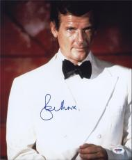 Roger Moore Signed Authentic Photo 11x14 James Bond 007 Psa W41799