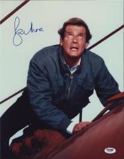 Roger Moore Signed Authentic Photo 11x14 James Bond 007 Psa W41834