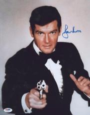 Roger Moore Signed Authentic Photo 11x14 James Bond 007 Psa Z75554