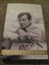 Roger Moore Signed Autograph Book My Word Is My Bond James Bond Rare In Person