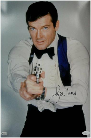 Roger Moore Signed Autographed 10X15 Photo James Bond Classic Pose JSA S40513