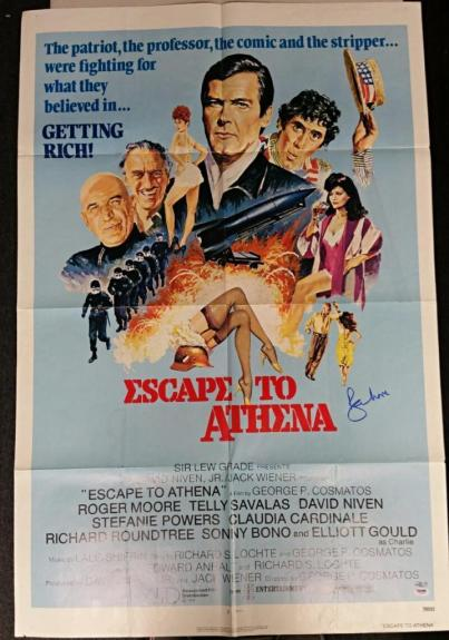 ROGER MOORE Signed Escape To Athena 28x40 Original 1979 Movie Poster PSA/DNA COA