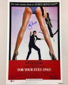 ROGER MOORE Signed FOR YOUR EYES ONLY 11x17 Movie Poster Photo BAS Beckett COA