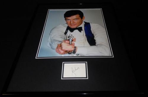 Roger Moore Signed Framed 16x20 Photo Poster Display JSA James Bond