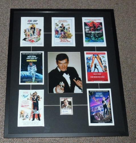 Roger Moore Signed Framed 24x29 James Bond Poster Display LEAF