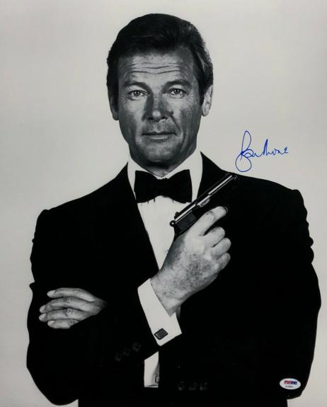 Roger Moore Signed James Bond '007' 16x20 Photo *The Original J. Bond* PSA 45551